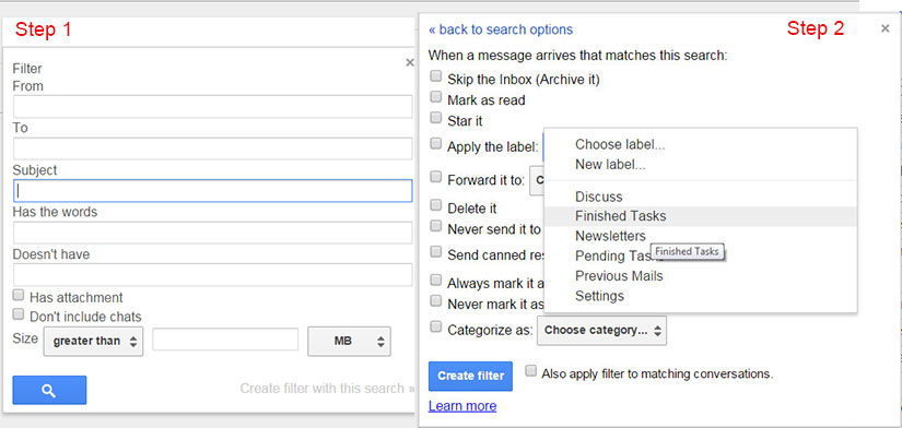 Applying Filters to your Gmail account