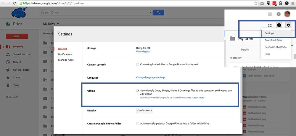 Google Drive Offline Feature