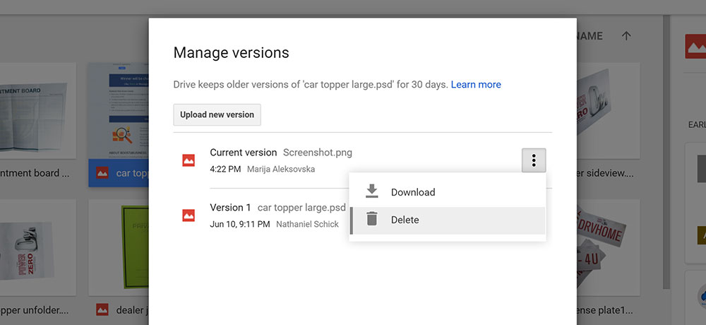 Manage Google Drive Versions